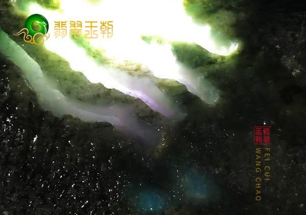 翡翠原石鉴赏:会卡场口原石紫罗兰色料打灯全身有色表现