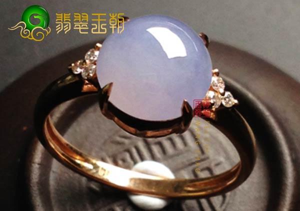 缅甸格应角翡翠原石场口紫罗兰色翡翠戒指18K金镶嵌