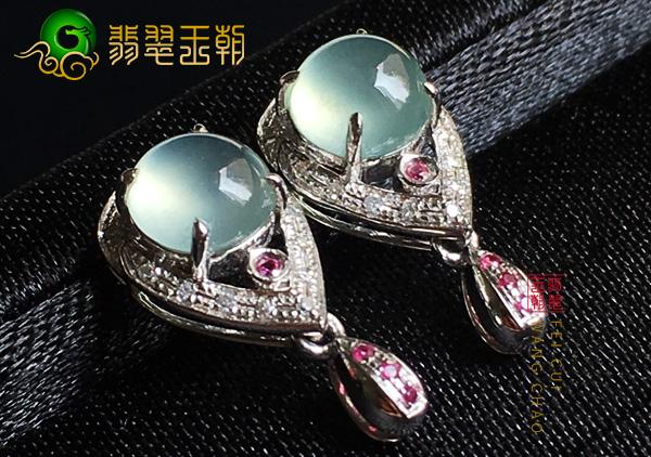缅甸原石毛料:冰种晴底木那翡翠耳环钉通透圆润干净细腻
