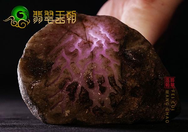 会卡场口翡翠原石紫罗兰平窗色料糯化种表现