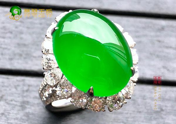 缅甸翡翠源头直播后江场口原石冰种阳绿翡翠戒指色正通透