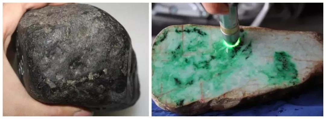 相玉技巧_68公斤的翡翠原石开出60条糯冰飘花手镯