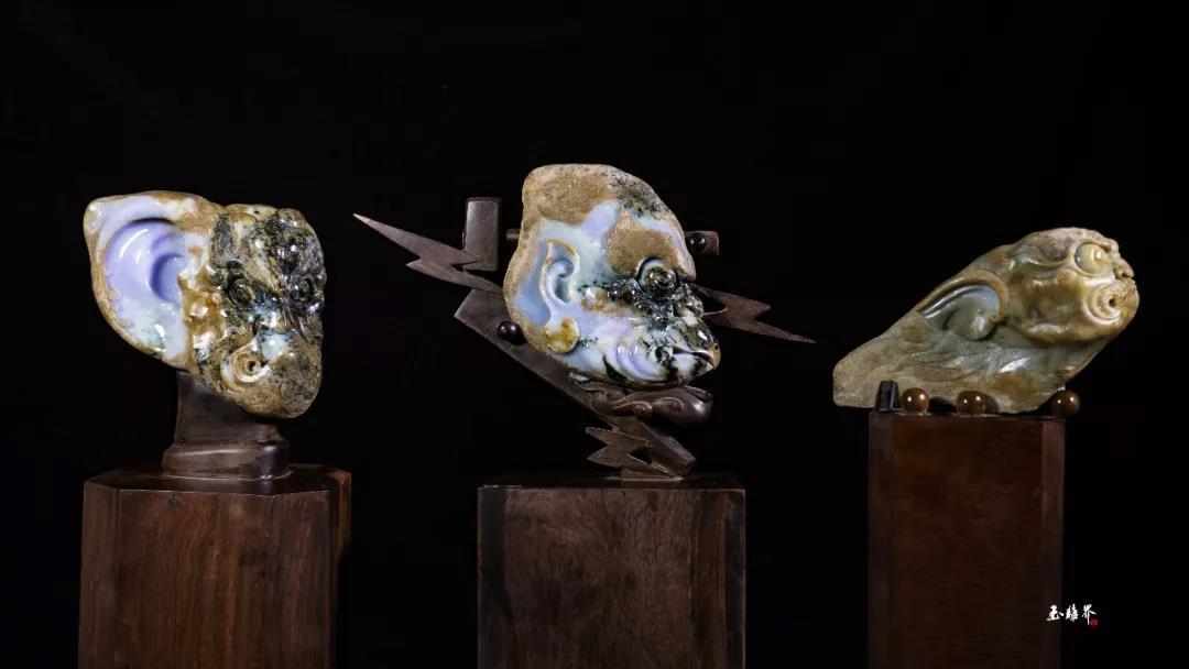 翡翠原石私人定制_皮糙肉厚的翡翠原石在玉雕师手上出雷震子