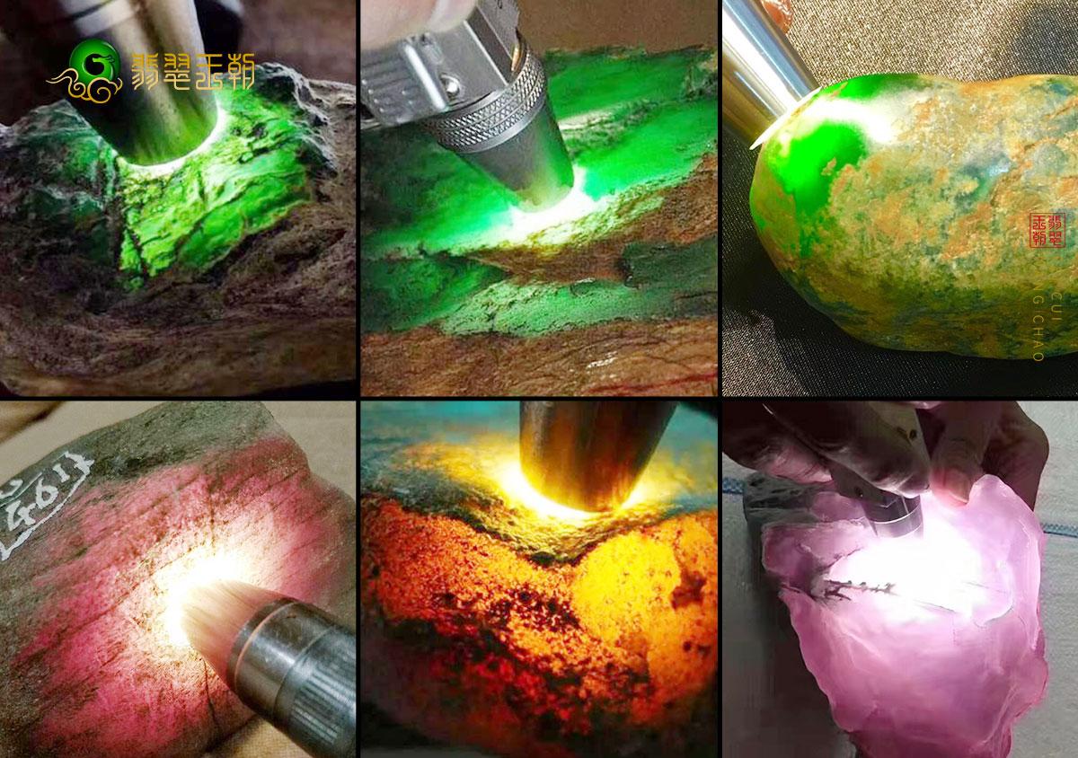 冰种玻璃种糯冰种糯种翡翠原石打灯表现