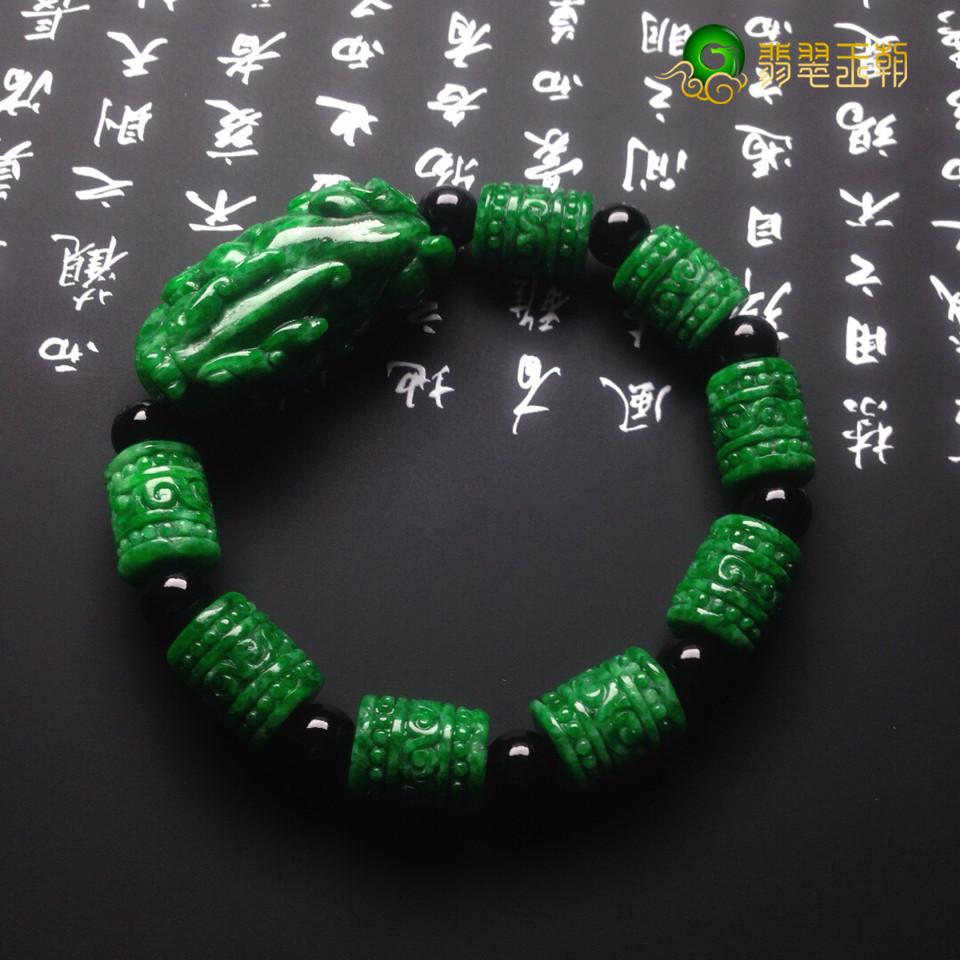【翡翠百科翡翠貔貅】细糯种翡翠貔貅手链正确佩戴才能招财聚宝