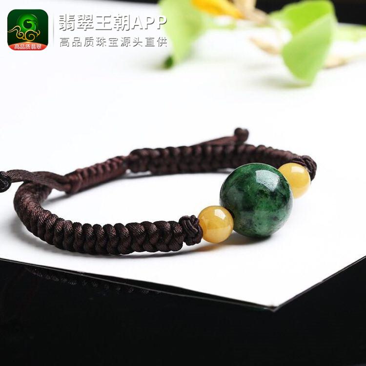 癣夹绿翡翠深绿翡翠圆珠手链珠链