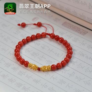 天然沙丁红珊瑚貔貅手串手链