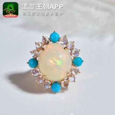 精品欧泊18K金镶嵌晶质化戒指