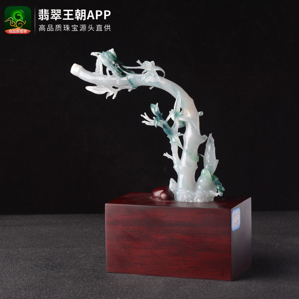 糯冰种翡翠飘花节节高升翡翠小摆件