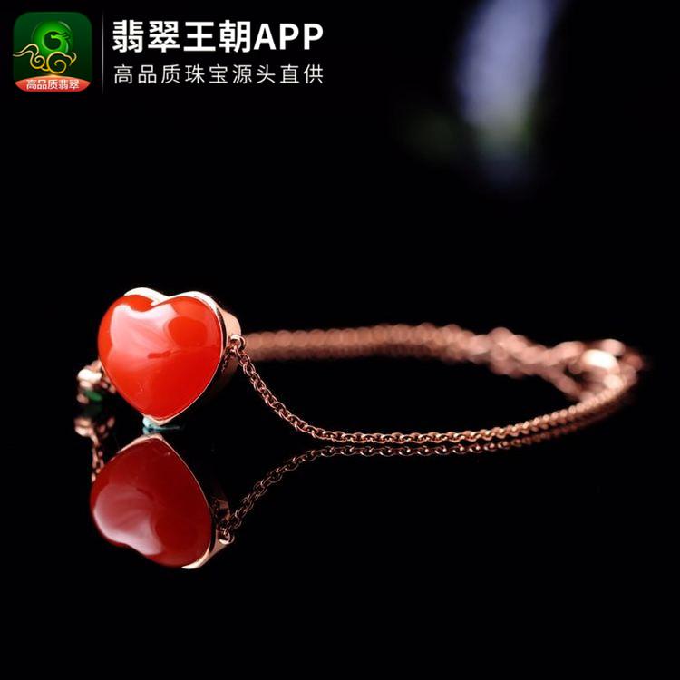 凉山南红樱桃红18K金镶心形南红手链