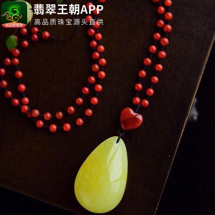 天然南红毛衣链搭配蜜蜡水滴挂件吊坠