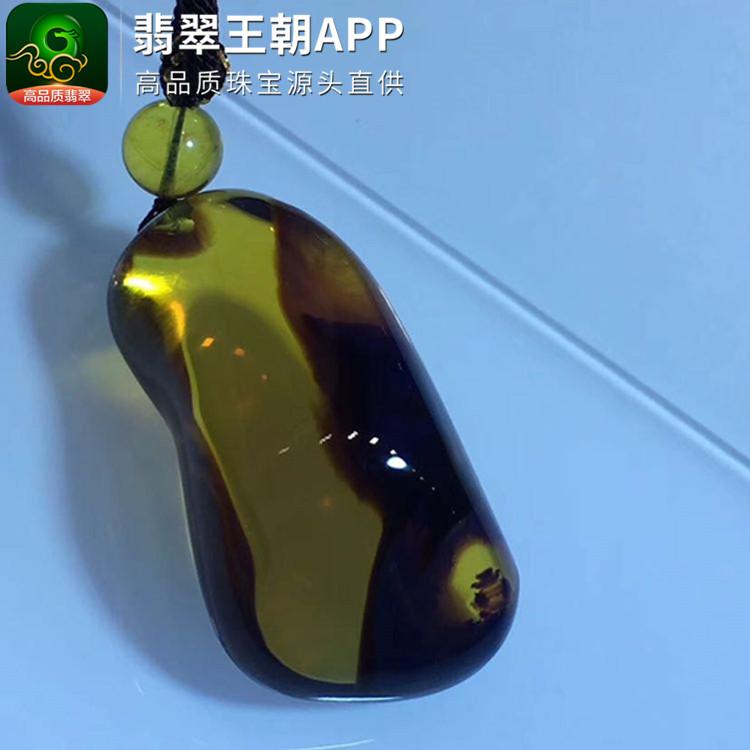 缅甸净水血茶红蜜溶洞琥珀挂件吊坠