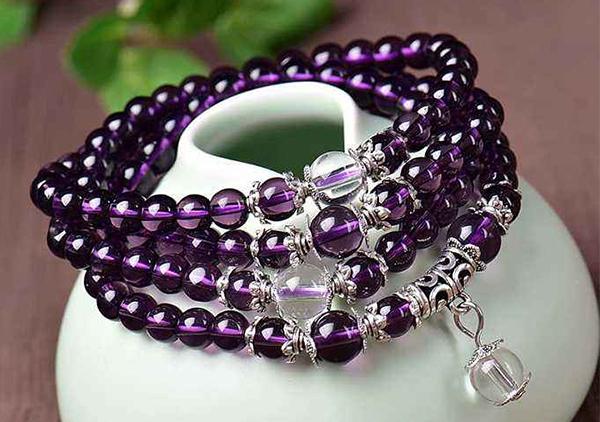 爱情守护石紫水晶手链手串可以开发智慧