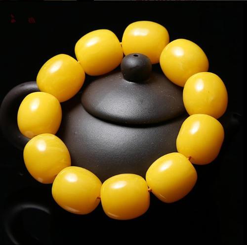 鸡油黄蜜蜡佛珠手串如何快速盘玩包浆