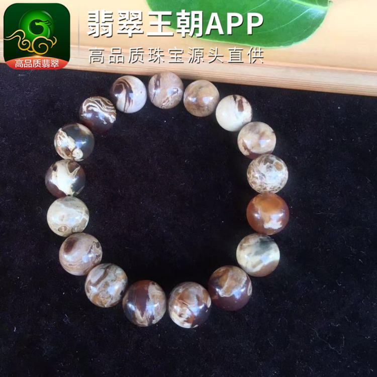 缅甸瓷白花蜜蜡溶洞珀圆珠琥珀手串