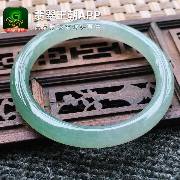 糯冰种晴水翡翠正圈圆条翡翠福镯圈口54mm