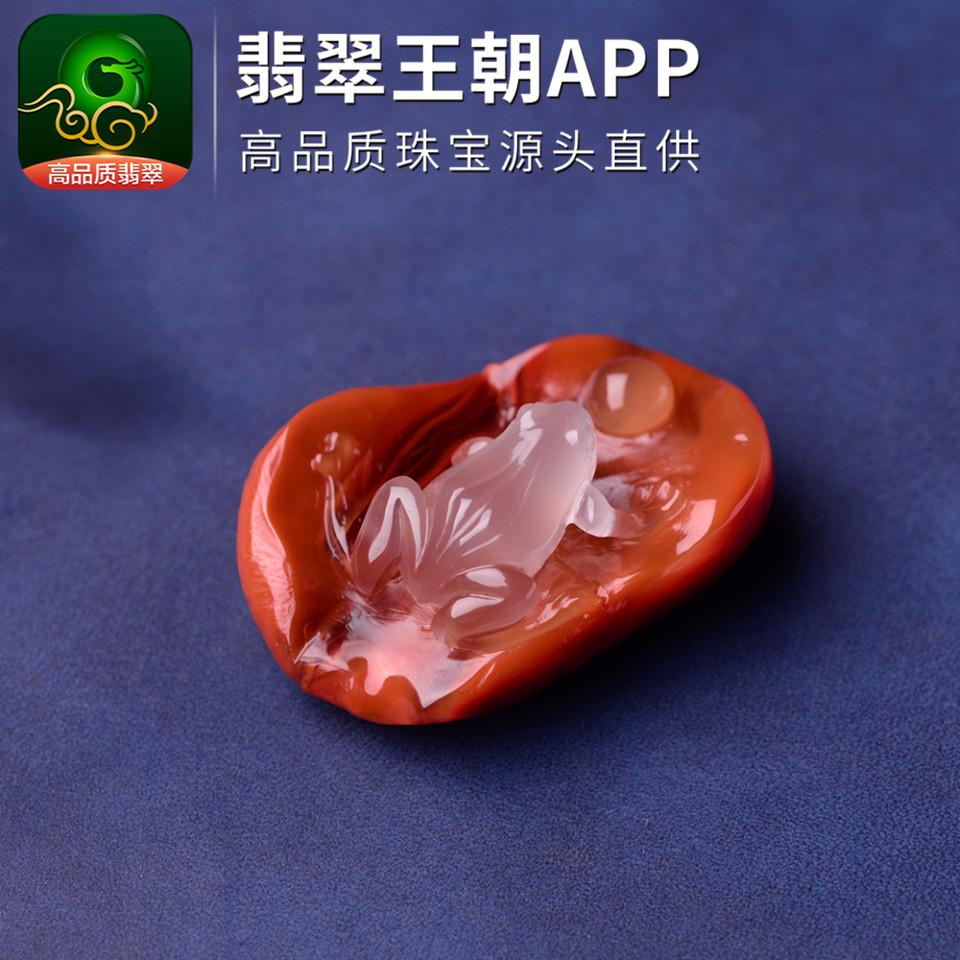 南红柿子红冻料呱呱来财川料南红挂件