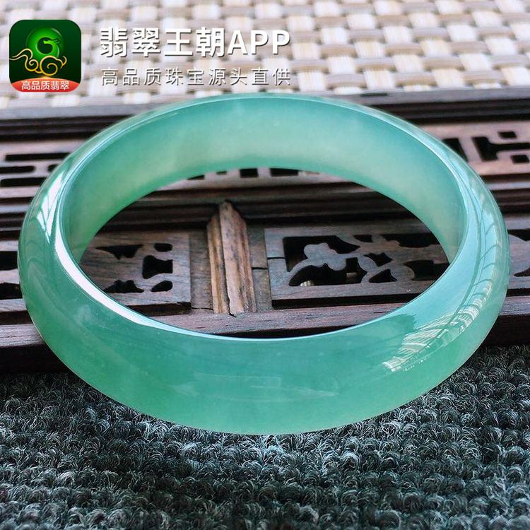 冰种蓝色翡翠宽边正装翡翠平安镯圈口54mm