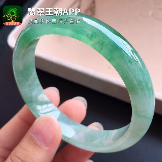 糯冰种飘绿翡翠正圈宽边平安镯圈口55mm