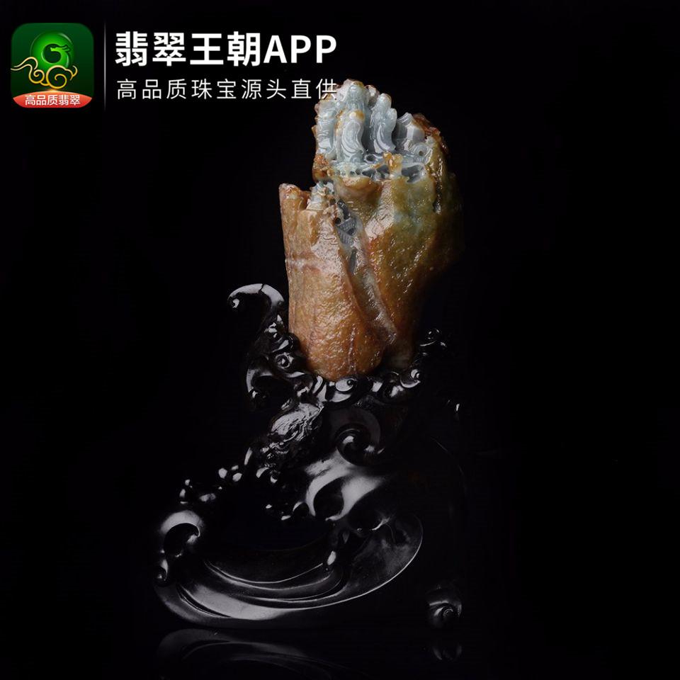 缅甸糯冰种翡翠精雕摆件佛山寿海