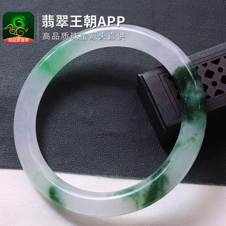 糯冰种飘花翡翠正圈圆条福镯圈口53mm