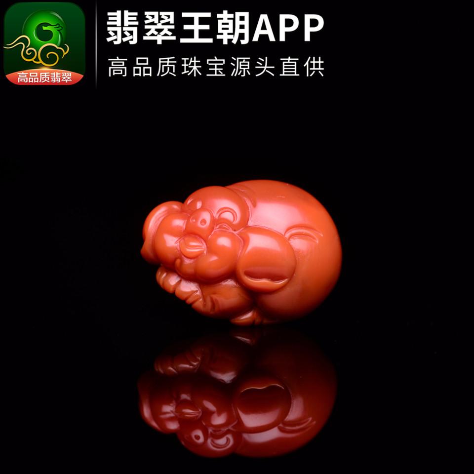 南红柿子红福猪招财挂件川料南红吊坠