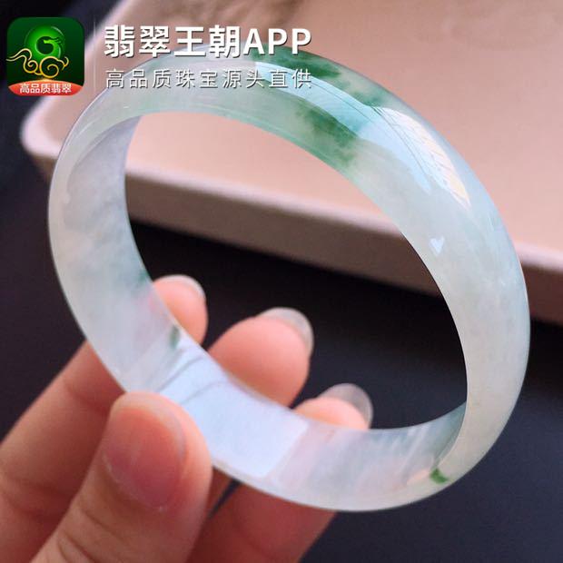冰种飘绿花正圈宽边翡翠平安镯圈口52mm