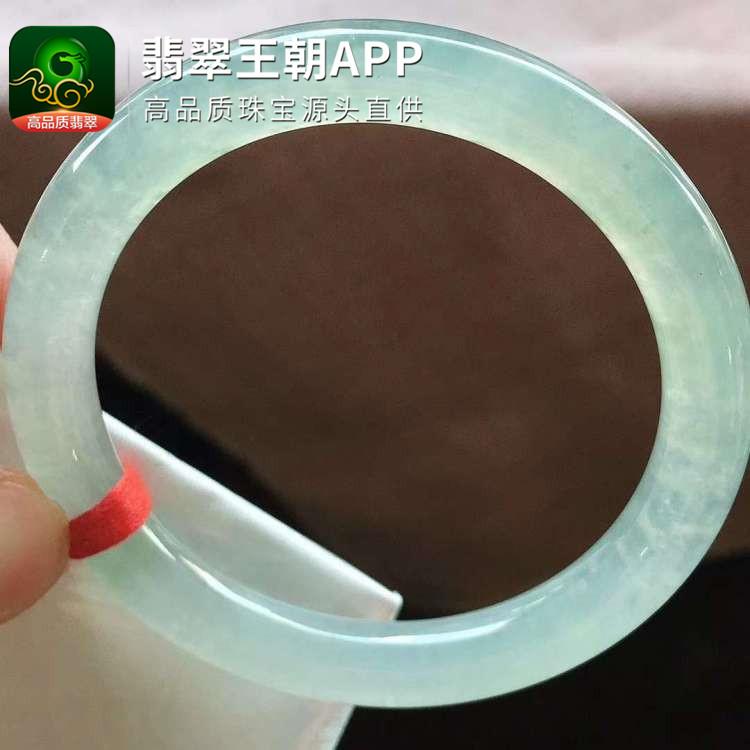 冰种晴水翡翠正圈圆条翡翠福镯圈口52mm