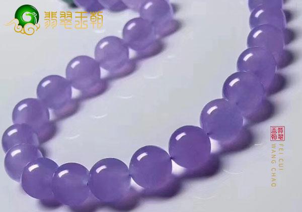 冰种阳绿和紫罗兰a货翡翠珠链看起来不值钱?