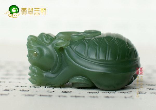 和田玉龙龟玉雕把件摆件风水上挡煞招财,象征长寿的吉祥物