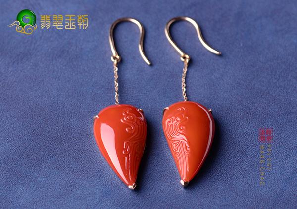 南红锦红金镶耳坠怎样判断其收藏价值