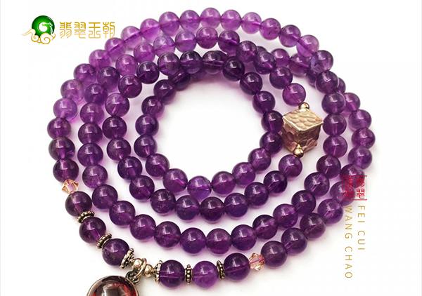 紫水晶项链中的珠串吊坠型根据服装人群搭配方法