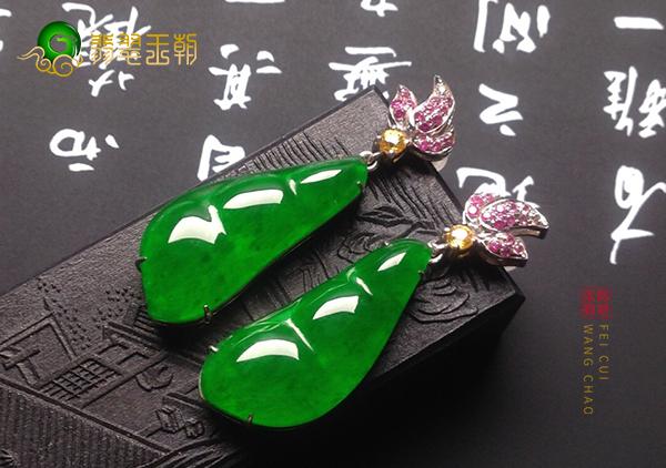 冰种满绿翡翠四季豆耳坠镶嵌都是为遮暇吗