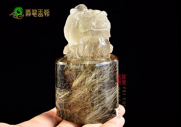 天然金发晶摆件与合成金发晶鉴别方法,注意其发丝及重量