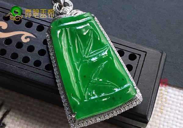 细糯种浓绿翡翠玉雕竹节挂件女士佩戴青春常驻