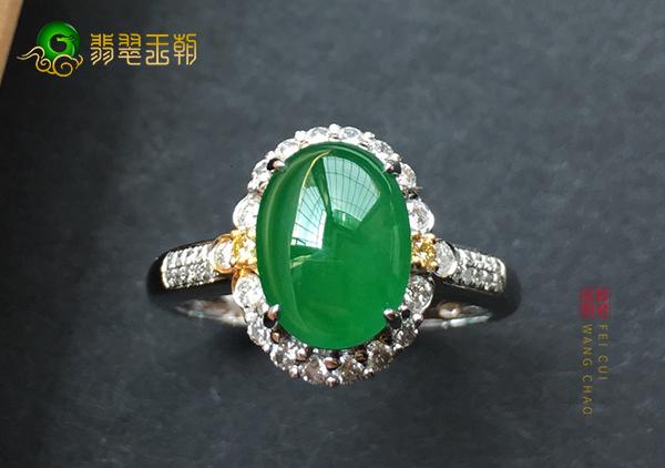 冰种满绿翡翠镶嵌戒指并不是所有的都值钱