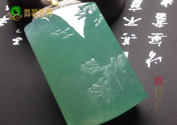 冰种晴水翡翠玉雕山水牌挂件的特点及价格