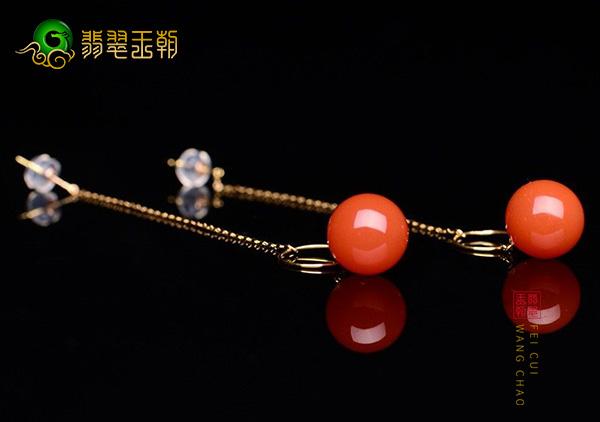 川料南红圆珠耳坠镶嵌耳饰在线搭配选购方法