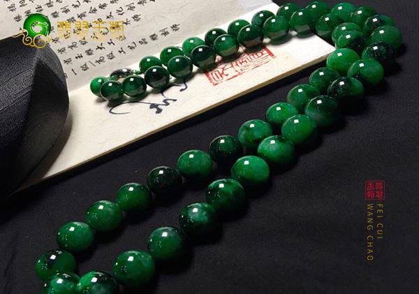 冰种浓绿翡翠珠链上镶嵌的18K金会褪色吗?