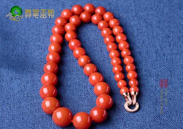 樱桃红南红塔链珠串选购方法,种水色俱佳的价值高