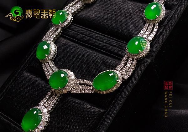 【翡翠价格】冰种阳绿翡翠镶嵌项链值多少钱