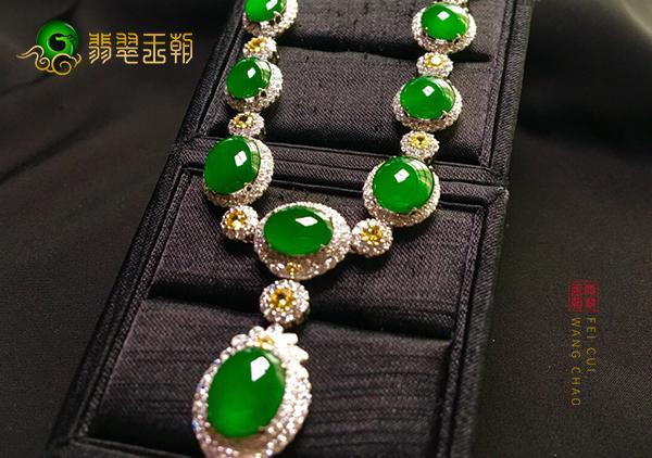 【翡翠镶嵌】冰种阳绿翡翠三件套的价格及图片