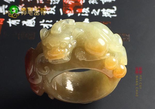 细糯种红黄翡貔貅戒指指环日常佩戴的方法技巧