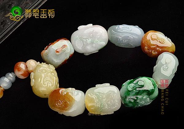 翡翠十八罗汉手串佛珠工艺造型独特称中华一绝