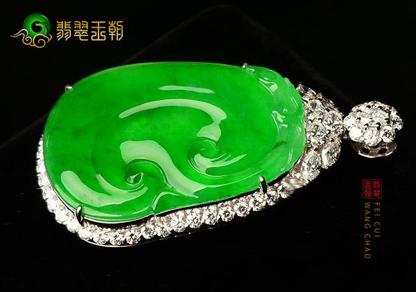 冰种阳绿翡翠镶嵌吊坠常见的几种款式及特点