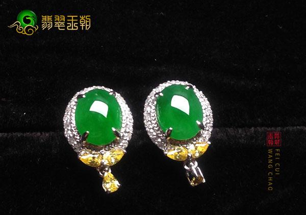 冰种翠绿色翡翠个性镶嵌耳钉在选购时要注意哪些