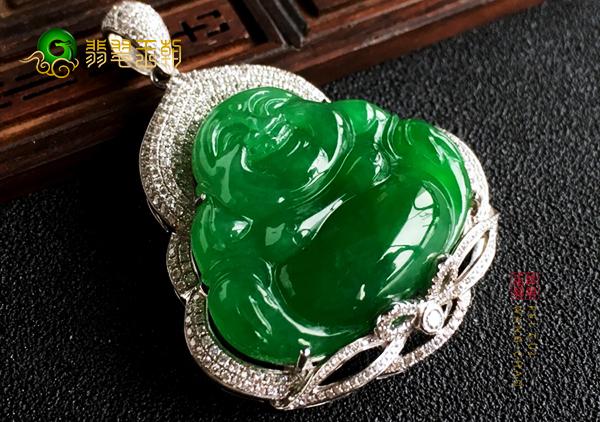 冰种满绿翡翠弥勒佛挂件笑口常开适合逆境中佩戴