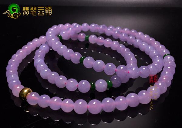 冰种紫罗兰翡翠珠串项链能成高奢饰品的原因