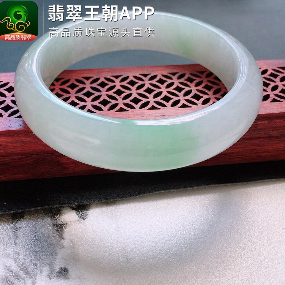 糯冰种白色飘绿翡翠手镯正圈翡翠玉镯