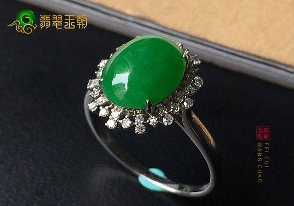 豆种满绿色翡翠戒面镶戒指哪种形状价值最高